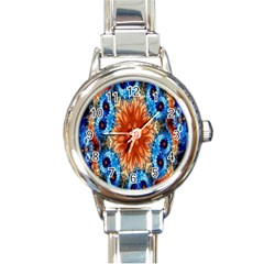 Alchemy Kaleidoscope Pattern Round Italian Charm Watch by Celenk