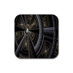 Fractal Circle Circular Geometry Rubber Coaster (square)