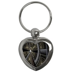 Fractal Circle Circular Geometry Key Chains (heart)  by Celenk