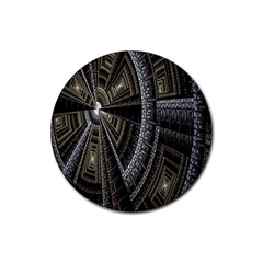 Fractal Circle Circular Geometry Rubber Coaster (round)  by Celenk