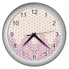 Flower Of Life Pattern 1 Wall Clocks (silver)  by Cveti
