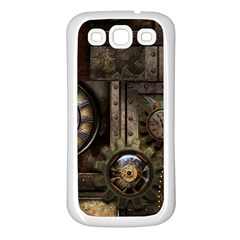 Steampunk, Wonderful Clockwork With Gears Samsung Galaxy S3 Back Case (white) by FantasyWorld7