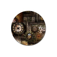 Steampunk, Wonderful Clockwork With Gears Magnet 3  (round) by FantasyWorld7