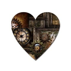 Steampunk, Wonderful Clockwork With Gears Heart Magnet by FantasyWorld7