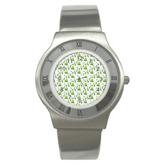 Watercolor Christmas Tree Stainless Steel Watch by patternstudio