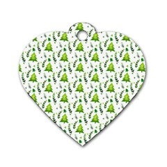 Watercolor Christmas Tree Dog Tag Heart (two Sides) by patternstudio