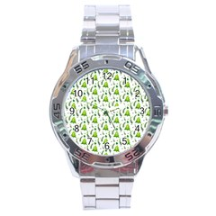 Watercolor Christmas Tree Stainless Steel Analogue Watch by patternstudio