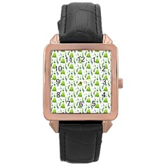 Watercolor Christmas Tree Rose Gold Leather Watch  by patternstudio