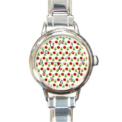 Watercolor Ornaments Round Italian Charm Watch by patternstudio