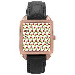 Watercolor Ornaments Rose Gold Leather Watch  by patternstudio