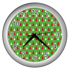 Christmas Tree Wall Clocks (silver)  by patternstudio