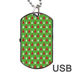 Christmas Tree Dog Tag Usb Flash (one Side) by patternstudio