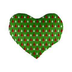 Christmas Tree Standard 16  Premium Heart Shape Cushions by patternstudio
