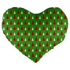 Christmas Tree Large 19  Premium Heart Shape Cushions by patternstudio
