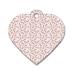 Candy Cane Dog Tag Heart (one Side) by patternstudio
