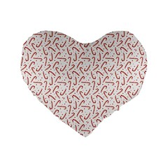 Candy Cane Standard 16  Premium Heart Shape Cushions by patternstudio