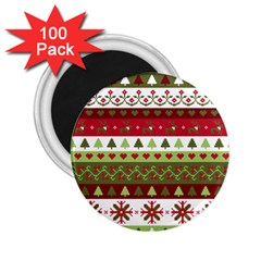 Christmas Spirit Pattern 2 25  Magnets (100 Pack)  by patternstudio