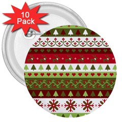 Christmas Spirit Pattern 3  Buttons (10 Pack)  by patternstudio