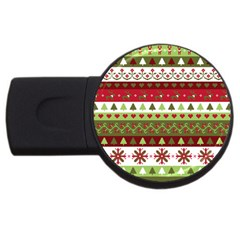 Christmas Spirit Pattern Usb Flash Drive Round (2 Gb) by patternstudio