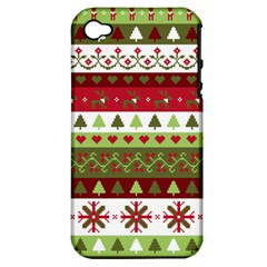 Christmas Spirit Pattern Apple Iphone 4/4s Hardshell Case (pc+silicone) by patternstudio