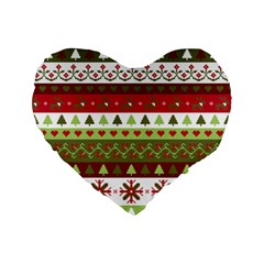 Christmas Spirit Pattern Standard 16  Premium Flano Heart Shape Cushions by patternstudio