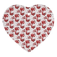 Ho Ho Ho Santaclaus Christmas Cheer Ornament (heart) by patternstudio
