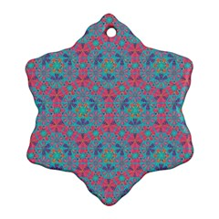 Bereket Pink Blue Snowflake Ornament (two Sides) by Cveti