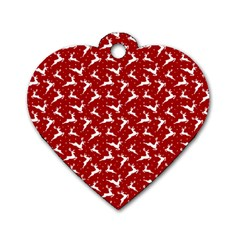 Red Reindeers Dog Tag Heart (one Side) by patternstudio