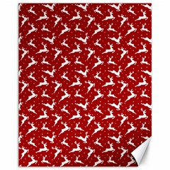 Red Reindeers Canvas 11  X 14   by patternstudio
