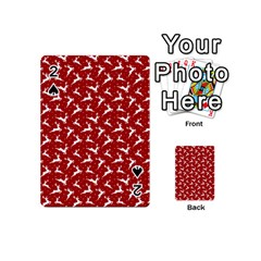 Red Reindeers Playing Cards 54 (mini)  by patternstudio