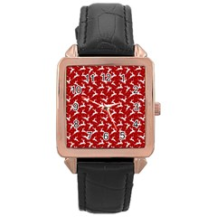 Red Reindeers Rose Gold Leather Watch  by patternstudio