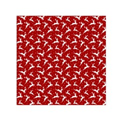 Red Reindeers Small Satin Scarf (square) by patternstudio