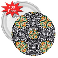Beveled Geometric Pattern 3  Buttons (100 Pack)  by linceazul