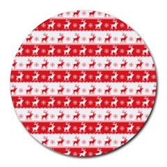 Knitted Red White Reindeers Round Mousepads by patternstudio