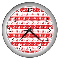 Knitted Red White Reindeers Wall Clocks (silver)  by patternstudio