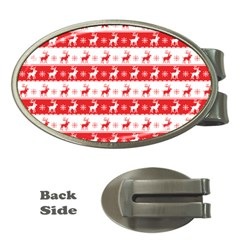 Knitted Red White Reindeers Money Clips (oval)  by patternstudio