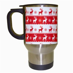 Knitted Red White Reindeers Travel Mugs (white) by patternstudio