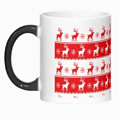 Knitted Red White Reindeers Morph Mugs by patternstudio