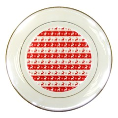 Knitted Red White Reindeers Porcelain Plates by patternstudio