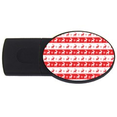 Knitted Red White Reindeers Usb Flash Drive Oval (4 Gb) by patternstudio
