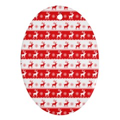 Knitted Red White Reindeers Oval Ornament (two Sides) by patternstudio