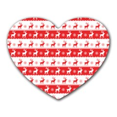 Knitted Red White Reindeers Heart Mousepads by patternstudio
