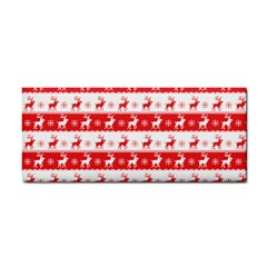 Knitted Red White Reindeers Cosmetic Storage Cases by patternstudio