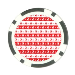 Knitted Red White Reindeers Poker Chip Card Guard (10 Pack) by patternstudio