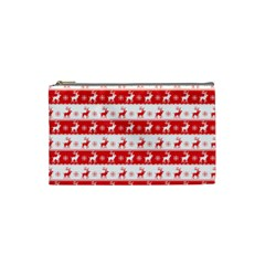Knitted Red White Reindeers Cosmetic Bag (small)  by patternstudio
