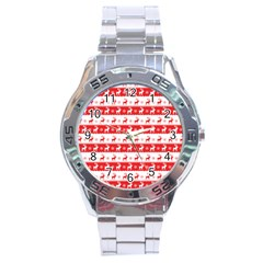 Knitted Red White Reindeers Stainless Steel Analogue Watch by patternstudio