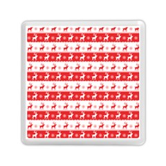 Knitted Red White Reindeers Memory Card Reader (square)  by patternstudio