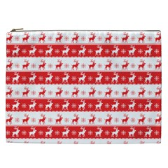 Knitted Red White Reindeers Cosmetic Bag (xxl)  by patternstudio