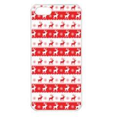 Knitted Red White Reindeers Apple Iphone 5 Seamless Case (white) by patternstudio