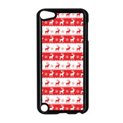 Knitted Red White Reindeers Apple Ipod Touch 5 Case (black) by patternstudio